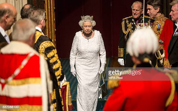 Prince Philip Duke of Edinburgh and Queen Elizabeth II prepare to leave the Houses of Parliament after the State Opening of Parliament in the House...