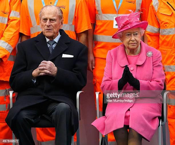 Prince Philip Duke of Edinburgh and Queen Elizabeth II visit the newly redeveloped Birmingham New Street Station on November 19 2015 in Birmingham...