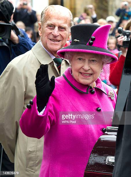 Prince Philip Duke of Edinburgh and Queen Elizabeth II visits Sherborne Abbey on May 1 2012 in Sherborne England The Queen and Duke of Edinburgh are...