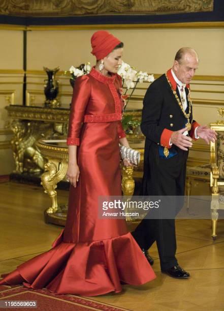 Prince Philip, Duke of Edinburgh and Sheikha Mozah Bint Nasser Al Missned attend a State Banquet for the Emir of Qatar, Sheikh Hamad bin Khalifa...