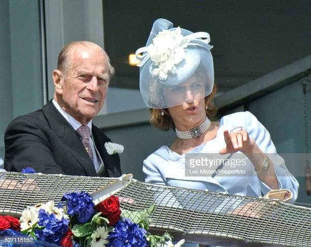 Prince Philip Duke of Edinburgh and Sophie Countess of Wessex watch events at the Investec Derby Day Race Meeting at Epsom Downs racecourse in Surrey...