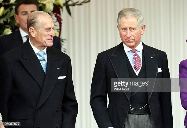 Prince Philip Duke of Edinburgh and the Prince Charles Prince of Wales attend a ceremony to greet The Emir of Qatar Sheikh Hamad bin Khalifa al Thani...