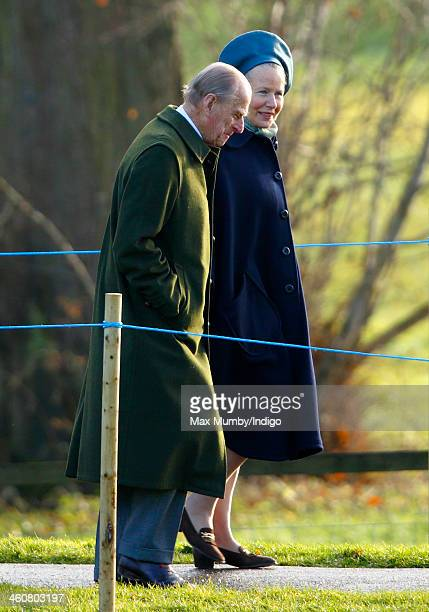Prince Philip Duke of Edinburgh arrives at St Mary Magdalene Church Sandringham to attend Sunday service on January 5 2014 near King's Lynn England