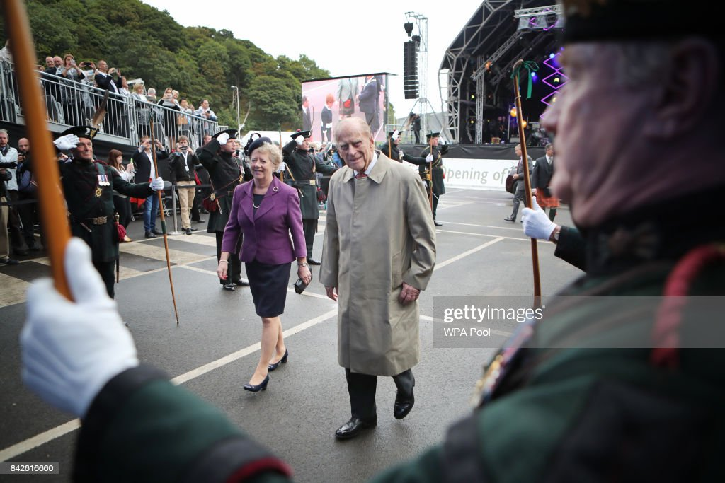 Prince Philip, Duke of Edinburgh arrives at the official opening of the Queensferry Crossing on September 4, 2017 in South Queensferry, Scotland. Scotland's newest road bridge which began construction in 2011, crosses the Firth of Forth near Edinburgh. The crossing is the world's longest three tower cable stayed bridge.