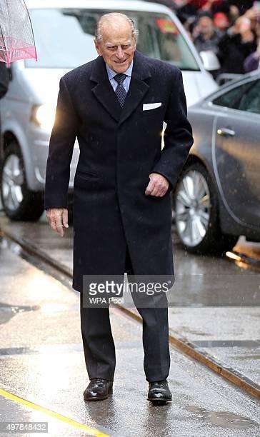 Prince Philip Duke of Edinburgh arrives for a visit to the Metroline Tramline Extension on November 19 2015 in London England Queen Elizabeth II was...