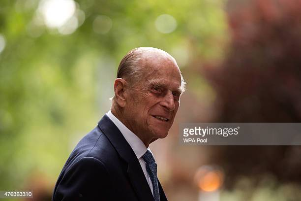 Prince Philip Duke of Edinburgh arrives for his visit to Richmond Adult Community College in Richmond on June 8 2015 in London England Prince Philip...
