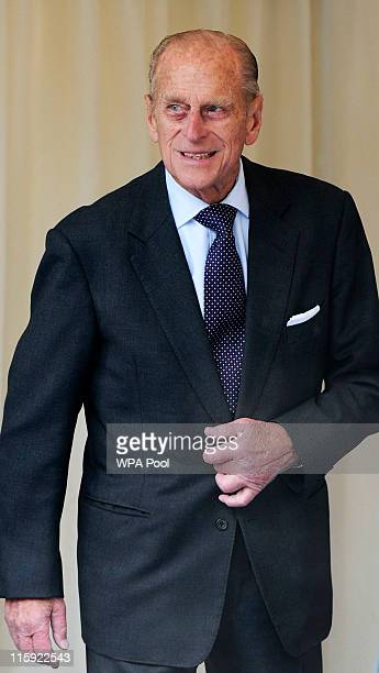 Prince Philip, Duke of Edinburgh arrives with other members of the royal family for a church service to mark Prince Philip's 90th birthday on June...