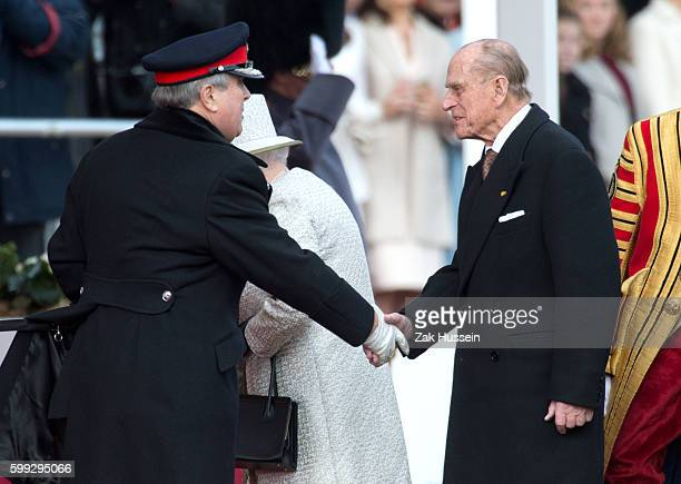 Prince Philip Duke of Edinburgh attending a ceremonial welcome for The President Of United Mexican States at Horse Guards Parade in London