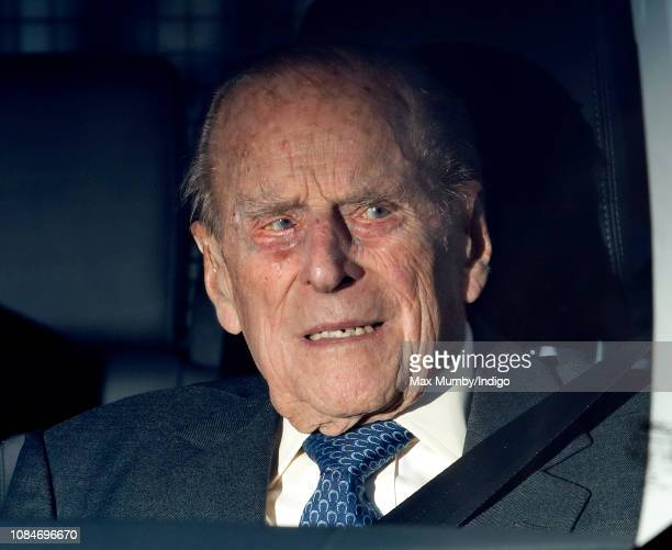 Prince Philip Duke of Edinburgh attends a Christmas lunch for members of the Royal Family hosted by Queen Elizabeth II at Buckingham Palace on...
