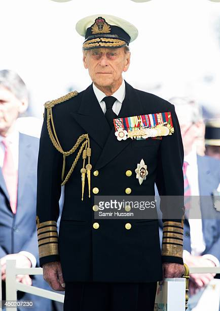Prince Philip Duke of Edinburgh attends a service at Bayeux Cemetary during DDay 70 Commemorations on June 6 2014 in Bayeux France