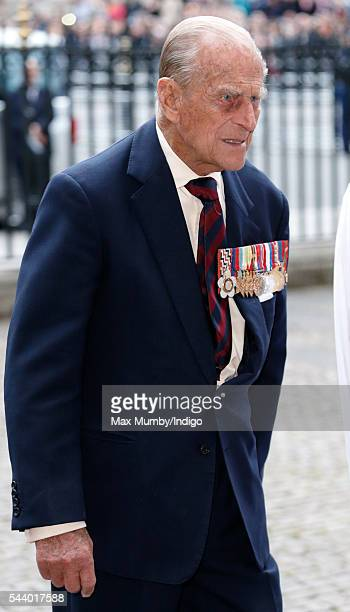Prince Philip Duke of Edinburgh attends a service on the eve of the centenary of The Battle of The Somme at Westminster Abbey on June 30 2016 in...