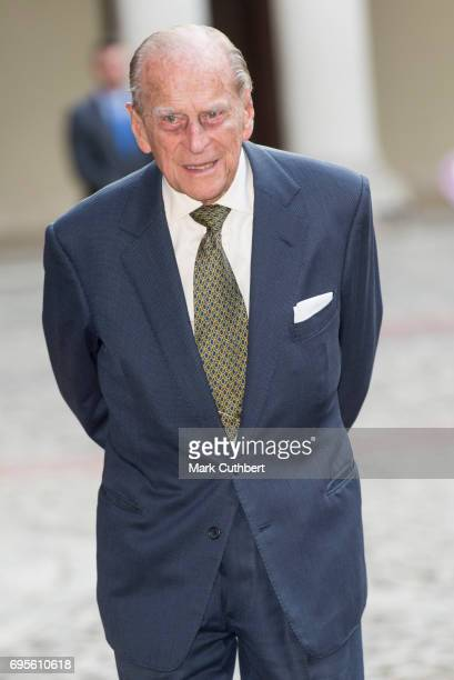 Prince Philip Duke of Edinburgh attends Evensong in celebration of the centenary of the Order of the Companions of Honour at Hampton Court Palace on...