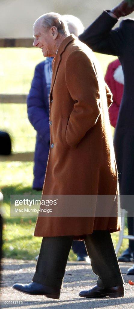 Prince Philip, Duke of Edinburgh attends Sunday service at St Mary Magdalene Church, Sandringham on January 7, 2018 in King's Lynn, England.