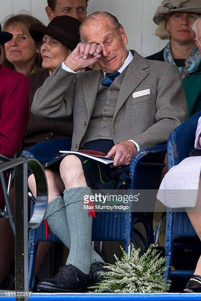 Prince Philip Duke of Edinburgh attends the 2012 Braemar Highland Gathering at The Princess Royal Duke of Fife Memorial Park on September 1 2012 in...