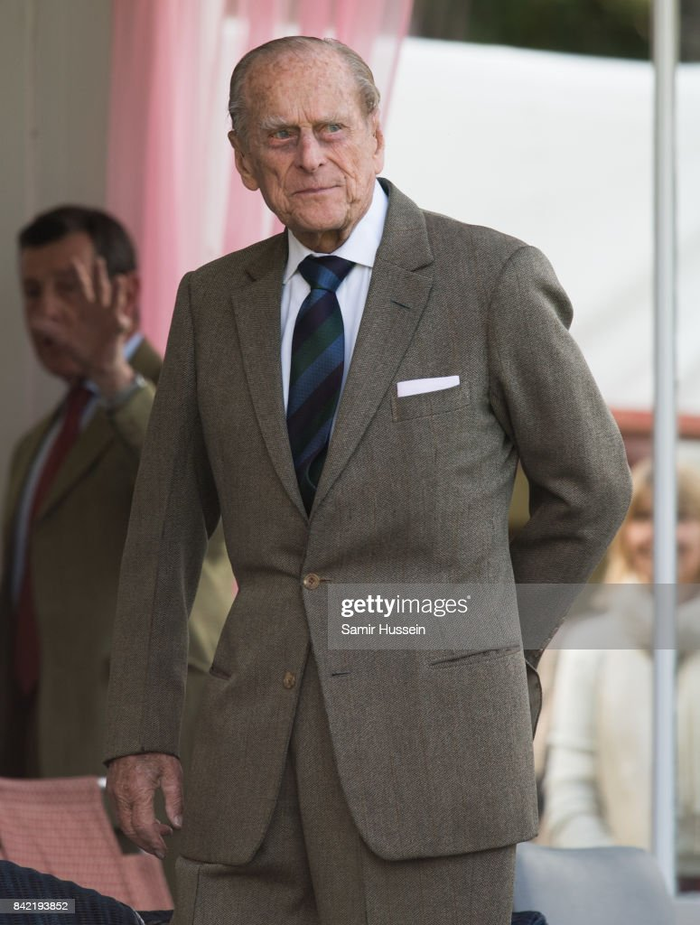 Prince Philip, Duke of Edinburgh attends the 2017 Braemar Highland Gathering at The Princess Royal and Duke of Fife Memorial Park on September 2, 2017 in Braemar, Scotland.