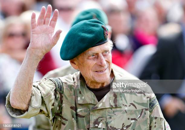 Prince Philip, Duke of Edinburgh attends the Afghanistan Operational Service Medals Parade for 40 Commando Royal Marines at Norton Manor Camp on May...