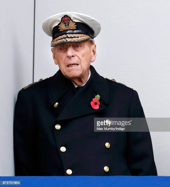 Prince Philip Duke of Edinburgh attends the annual Remembrance Sunday Service at The Cenotaph on November 12 2017 in London England This year marks...