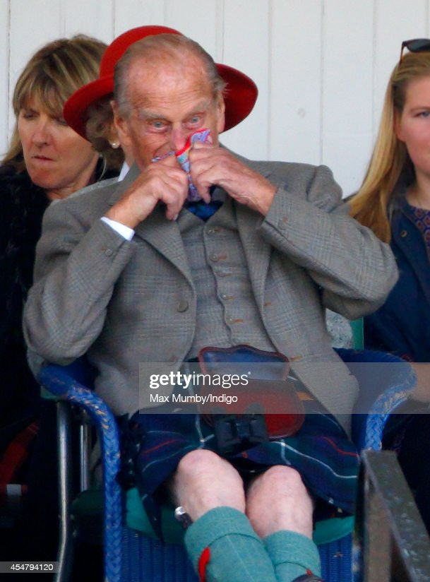 Prince Philip, Duke of Edinburgh attends the Braemar Gathering at the The Princess Royal and Duke of Fife Memorial Park on September 6, 2014 in Braemar, Scotland. The Braemar Gathering is the most famous of the Highland Games and is known worldwide. Each year thousands of visitors descend on this small Scottish village on the first Saturday in September to watch one of the more colourful Scottish traditions. The Gathering has a long history and in its modern form it stretches back nearly 200 years.