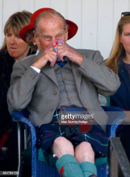 Prince Philip Duke of Edinburgh attends the Braemar Gathering at the The Princess Royal and Duke of Fife Memorial Park on September 6 2014 in Braemar...