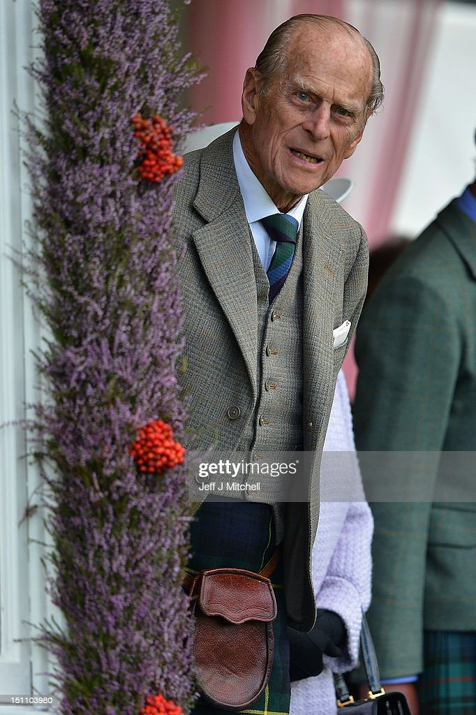 Prince Philip, Duke of Edinburgh attends the Braemar Highland Games at The Princess Royal and Duke of Fife Memorial Park on September 1, 2012 in Braemar, Scotland. The Braemar Gathering is the most famous of the Highland Games and is known worldwide. Each year thousands of visitors descend on this small Scottish village on the first Saturday in September to watch one of the more colourful Scottish traditions. The Gathering has a long history and in its modern form it stretches back nearly 200 years.
