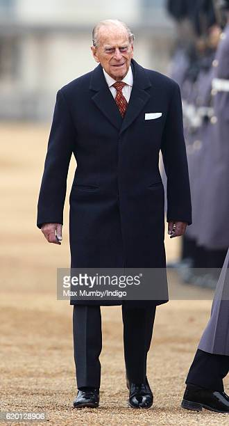 Prince Philip Duke of Edinburgh attends the Ceremonial Welcome for the President of Colombia at Horse Guards Parade on November 1 2016 in London...