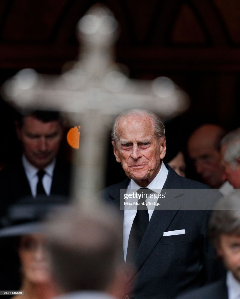 Prince Philip, Duke of Edinburgh attends the funeral of Patricia Knatchbull, Countess Mountbatten of Burma at St Paul's Church, Knightsbridge on June 27, 2017 in London, England. Patricia, Countess Mountbatten of Burma daughter of Louis Mountbatten, 1st Earl Mountbatten of Burma and third cousin of Queen Elizabeth II died aged 93 on June 13 2017.