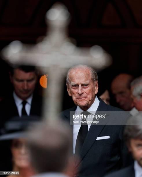 Prince Philip Duke of Edinburgh attends the funeral of Patricia Knatchbull Countess Mountbatten of Burma at St Paul's Church Knightsbridge on June 27...