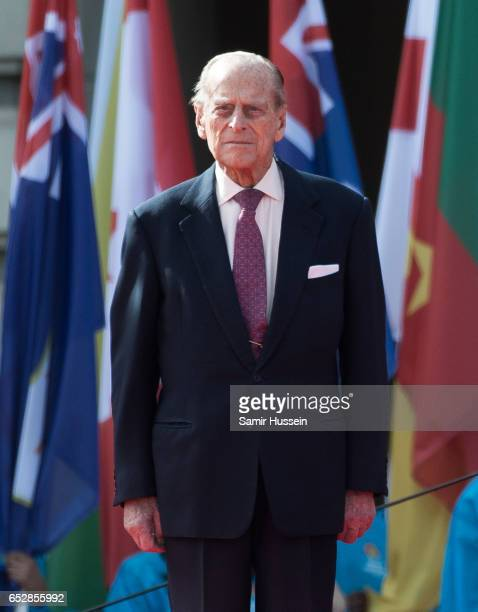Prince Philip Duke of Edinburgh attends the launch of The Queen's Baton Relay for the XXI Commonwealth Games being held on the Gold Coast in 2018 at...