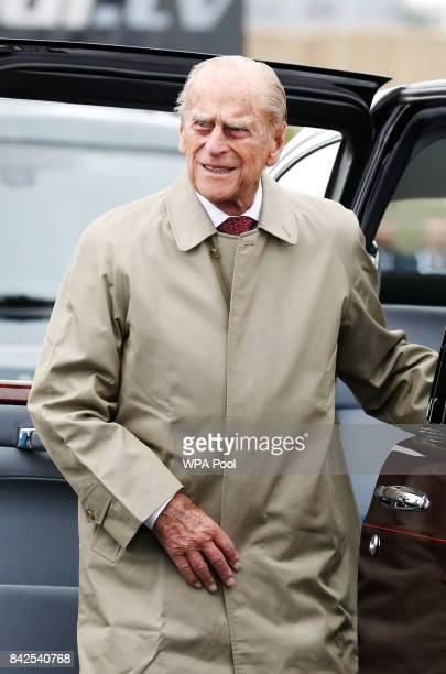 Prince Philip Duke of Edinburgh attends the official opening ceremony of the Queensferry Crossing on September 4 2017 in South Queensferry Scotland...