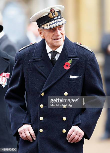 Prince Philip Duke of Edinburgh attends the opening of the Field of Remembrance at Westminster Abbey on November 5 2015 in London England