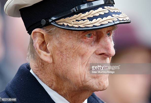 Prince Philip Duke of Edinburgh attends the opening of the Field of Remembrance at Westminster Abbey on November 10 2016 in London England