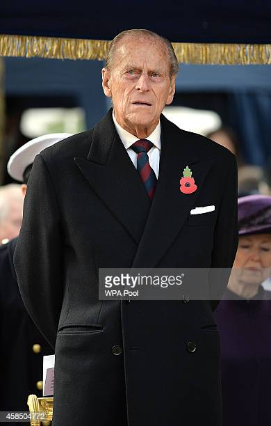 Prince Philip Duke of Edinburgh attends the opening of the Flanders Field Memorial outside the Guards Chapel on November 6 2014 in London England