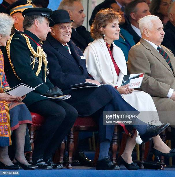 Prince Philip, Duke of Edinburgh attends the Rifles' Sounding Retreat on Horse Guards Parade on June 2, 2016 in London, England. The Massed Bands and...