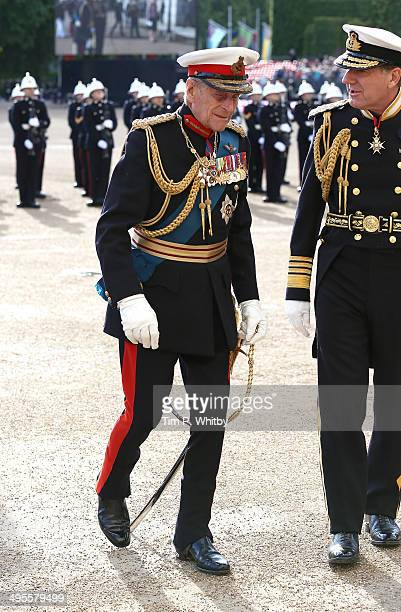 Prince Philip Duke of Edinburgh attends The Royal Marines 350th Anniversary Beating Retreat at The Royal Horseguards on June 4 2014 in London England