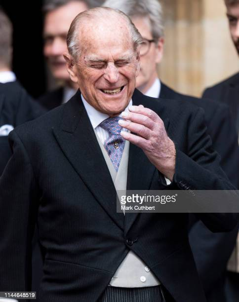 Prince Philip Duke of Edinburgh attends the wedding of Lady Gabriella Windsor and Mr Thomas Kingston at St George's Chapel on May 18 2019 in Windsor...