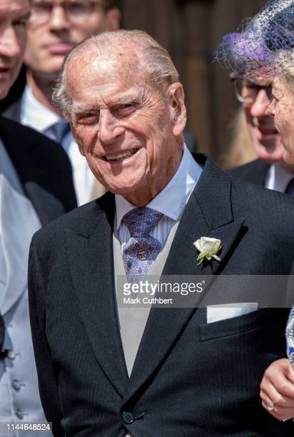 Prince Philip, Duke of Edinburgh attends the wedding of Lady Gabriella Windsor and Mr Thomas Kingston at St George's Chapel on May 18, 2019 in...