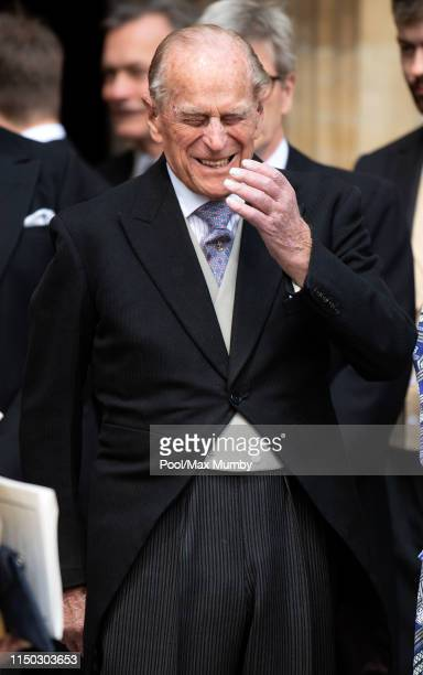 Prince Philip, Duke of Edinburgh attends the wedding of Lady Gabriella Windsor and Thomas Kingston at St George's Chapel on May 18, 2019 in Windsor,...