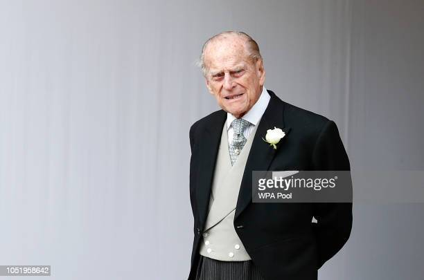 Prince Philip Duke of Edinburgh attends the wedding of Princess Eugenie of York to Jack Brooksbank at St George's Chapel on October 12 2018 in...