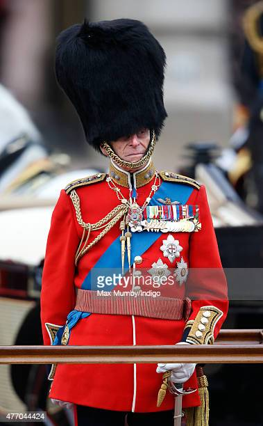 Prince Philip, Duke of Edinburgh attends Trooping the Colour on June 13, 2015 in London, England. The ceremony is Queen Elizabeth II's annual...