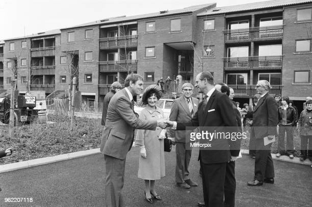 Prince Philip, Duke of Edinburgh being greeted by Mr Norman Owen, general secretary of Redditch YMCA at Church Hill, 4th May 1978.