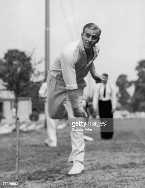 Prince Philip Duke of Edinburgh bowling at the nets during cricket practice at the Petty Officer's Training Centre at Corsham Wiltshire where he is a...
