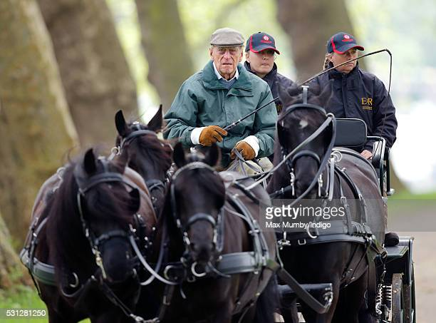 Prince Philip Duke of Edinburgh carriage driving on day 3 of the Royal Windsor Horse Show in Home Park on May 13 2016 in Windsor England