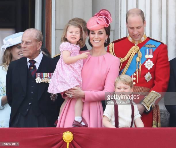Prince Philip Duke of Edinburgh Catherine Duchess of Cambridge Princess Charlotte of Cambridge Prince George of Cambridge and Prince William Duke of...