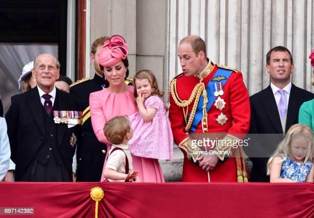 Prince Philip Duke of Edinburgh Catherine Duchess of Cambridge Prince George of Cambridge Princess Charlotte of Cambridge Prince William Duke of...