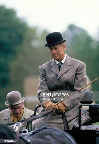 Prince Philip Duke of Edinburgh competes in the carrige driving race at the Royal Windsor Horse Show at Home Park on May 16 1990 in Windsor England