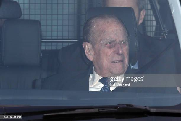 Prince Philip Duke of Edinburgh departs Buckingham Palace after the Queen's Christmas Lunch on December 19 2018 in London England