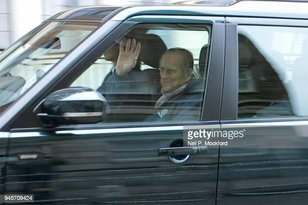 Prince Philip Duke of Edinburgh departs King Edward VII Hospital on April 13 2018 in London England