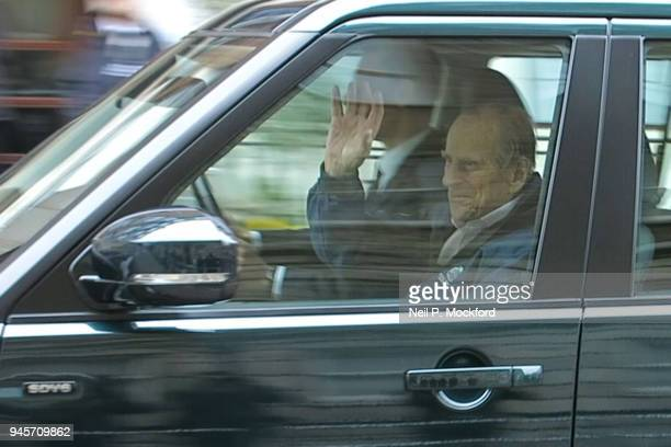 Prince Philip Duke of Edinburgh departs the King Edward VII Hospital on April 13 2018 in London England