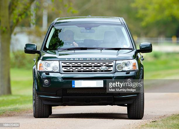 Prince Philip Duke of Edinburgh drives himself in his Land Rover Freelander to watch the dressage phase of the Land Rover International Driving Grand...