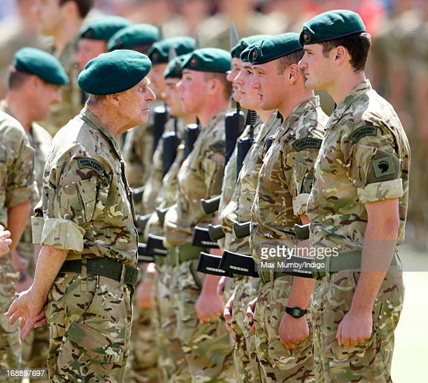 Prince Philip Duke of Edinburgh in his role as Captain General Royal Marines presents Afghanistan Operational Service Medals Parade to 40 Commando...